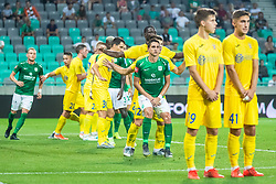 Luka Menalo of NK Olimpija with Gregor Sikosek of NK Domzale during football match between NK Olimpija and NK Domzale in 2nd Round of Prva liga Telekom Slovenije 2019/20, on July 21st, 2019, in Stadium Stozice, Ljubljana, Slovenia. Photo by Grega Valancic / Sportida