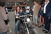 DEE MURRAY; NICK BYFIELD WARD ON HARLEY DAVIDSON, Dirty Pretty Things - summer party. Lingerie line hosts  party celebrating its new online shop and showcasing the latest collection. The Lingerie Collective, 8 Ganton Street, Soho. London, 15 June 2011<br /> <br />  , -DO NOT ARCHIVE-© Copyright Photograph by Dafydd Jones. 248 Clapham Rd. London SW9 0PZ. Tel 0207 820 0771. www.dafjones.com.