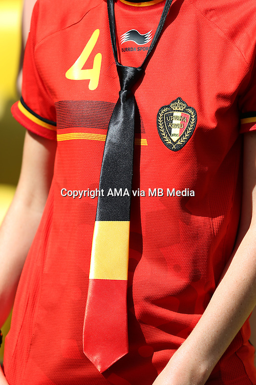 A fan of Vincent Kompany of Belgium wearing a tie