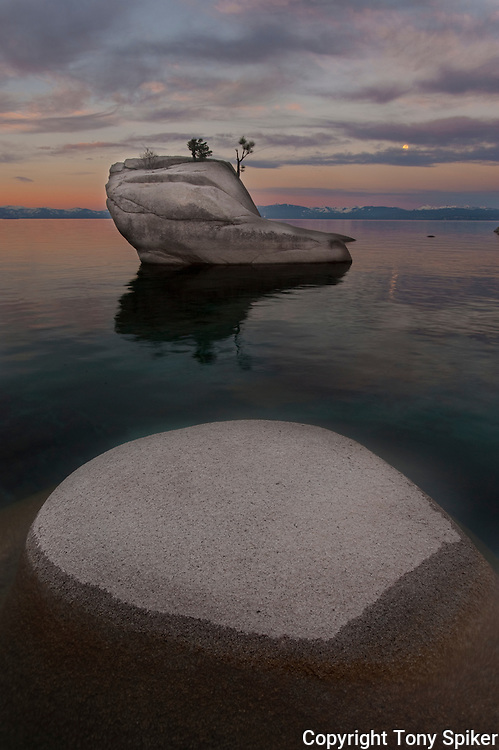 """Bonsai Rock Sunrise 9"" - The sun rises over Bonsai Rock on the Eastern shore of Lake Tahoe as the moon is setting"