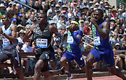 Jun 30, 2019; Stanford, CA, USA; Christian Coleman (USA), center defeats Justin Gatlin (USA), right, to win the 100m, 9.81 to 9.87, during the 45th Prefontaine Classic at Cobb Track & Angell Field.