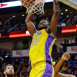 Feb 14, 2018; New Orleans, LA, USA; Los Angeles Lakers forward Julius Randle (30) dunks over New Orleans Pelicans forward Nikola Mirotic (3) during the second quarter at the Smoothie King Center. Mandatory Credit: Derick E. Hingle-USA TODAY Sports