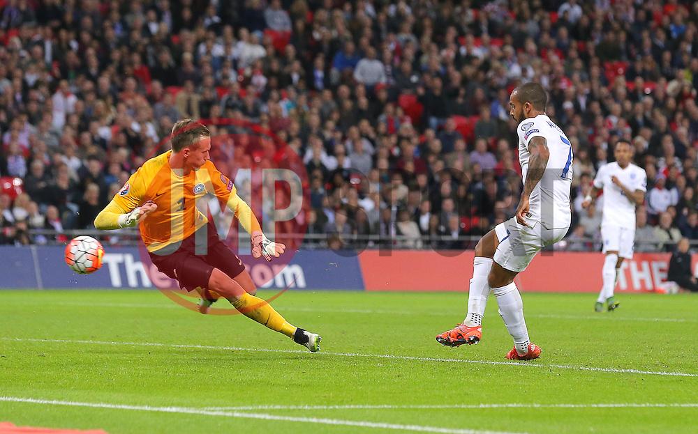 Theo Walcott of England scores the opening goal - Mandatory byline: Paul Terry/JMP - 07966 386802 - 09/10/2015 - FOOTBALL - Wembley Stadium - London, England - England v Estonia - European Championship Qualifying - Group E