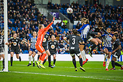 GOAL: Kayleigh Green (Brighton & Hove) heads the ball into the back of the net  and scores her 2nd goal of the game giving Brighton a 3-0 lead during the FA Women's Super League match between Brighton and Hove Albion Women and Birmingham City Women at the American Express Community Stadium, Brighton and Hove, England on 17 November 2019.