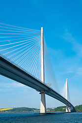 View of new Queensferry Crossing Bridge from below crossing the Firth of Forth in Scotland, UK