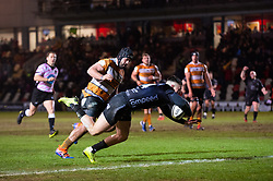 Jared Rosser of Dragons scores a try Guinness PRO14, Rodney Parade, Newport, UK 29/02/2020<br /> Dragons vs Toyota Cheetahs<br /> <br /> Mandatory Credit ©INPHO/Dougie Allward