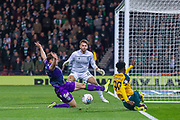 Jeremie Frimpong of Celtic manages to cross the ball during the Betfred Scottish League Cup semi-final match between Hibernian and Celtic at Hampden Park, Glasgow, United Kingdom on 2 November 2019.