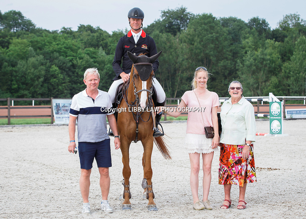 NZL-Bruce Goodin (CHAGRANNUS) with his Mother: Anne; Wife: Ulrika; Owner: Glenn Nielsen and Groom: Mark: Prizegiving: FINAL-4TH: Prix RTL TVI CSI4* 1:40m: 2015 BEL-Jumping Mons International (Saturday 4 July) CREDIT: Libby Law COPYRIGHT: LIBBY LAW PHOTOGRAPHY