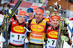 17.12.2016, Nordische Arena, Ramsau, AUT, FIS Weltcup Nordische Kombination, Langlauf, im Bild Eric Frenzel (GER, 3. Platz), Sieger Johannes Rydzek (GER), Fabian Riessle (GER, 2. Platz) // 3rd placed Eric Frenzel of Germany, Winner Johannes Rydzek of Germany, 2nd placed Fabian Riessle of Germany during Cross Country Competition of FIS Nordic Combined World Cup, at the Nordic Arena in Ramsau, Austria on 2016/12/17. EXPA Pictures © 2016, PhotoCredit: EXPA/ JFK