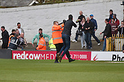 Millwall fans scuffle with stewards before the Sky Bet League 1 match between Bury and Millwall at the JD Stadium, Bury, England on 23 April 2016. Photo by Mark Pollitt.