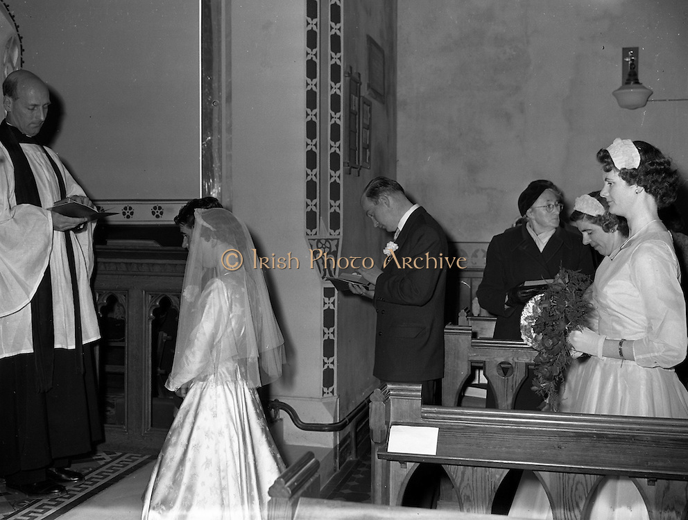 30/03/1957<br /> 03/30/1957<br /> 30 March 1957<br /> Wedding of Lee - Hill at Finglas Parish Church (Church of Ireland) and the Spa Hotel, Lucan, Dublin. Image of the wedding ceremony.
