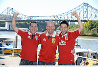 22 June 2013; British & Irish Lions supporters, from left, Declan Brennan, from Loughboy, Co. Kilkenny, Alan Prendergast, from Swords, Dublin, and Conor Berney, from Sandymount, Dublin, in Brisbane ahead of the game. British & Irish Lions Tour 2013, 1st Test, Australia v British & Irish Lions. Brisbane, Queensland, Australia. Picture credit: Stephen McCarthy / SPORTSFILE