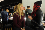 Lindsey Vonn gets ready for the Go Red For Women The Heart Truth Red Dress Collection 2014, made possible by Macy's and SUBWAY Restaurants, Thursday, Feb. 6, 2014, during Fashion Week in New York.  (Photo by Diane Bondareff for Go Red For Women)