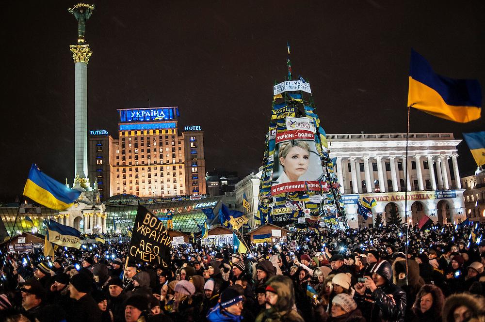 manifestation à Kiev, ukraine le dimanche 8 décembre 2013. manifestants anti Ianoukovitch sur la place de l'indépendance.