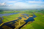 Nederland, Friesland, Alde Feanen, 10-10-2014; It Eilân, ten zuiden van Sytebuorren. Voormalig landbouwgebied (melkveehouderij), nu weidevogelgebied en retentiepolder. Aan de horizon De Oude Venen.<br /> The old peatlands, Frisian peatland and bog, nature reserve.<br /> luchtfoto (toeslag op standard tarieven);<br /> aerial photo (additional fee required);<br /> copyright foto/photo Siebe Swart