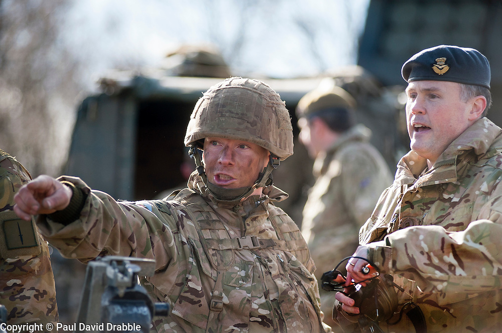Exercise Steel Sabre, a large Scale military live fire exercise on Otterburn Training Area. It involves 1400 troops the majority from the Royal Artillery 1st Artillery Brigade and includes the RAF and US air force working together to coordinate and integrate their roles on the battlefield ready for Exercises in Canada and Kenya <br /> <br />   02 March 2017 <br />   Copyright Paul David Drabble<br />   www.pauldaviddrabble.co.uk