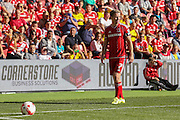 Middlesbrough midfielder Grant Leadbitter takes a corner  during the Sky Bet Championship match between Middlesbrough and Leeds United at the Riverside Stadium, Middlesbrough, England on 27 September 2015. Photo by Simon Davies.