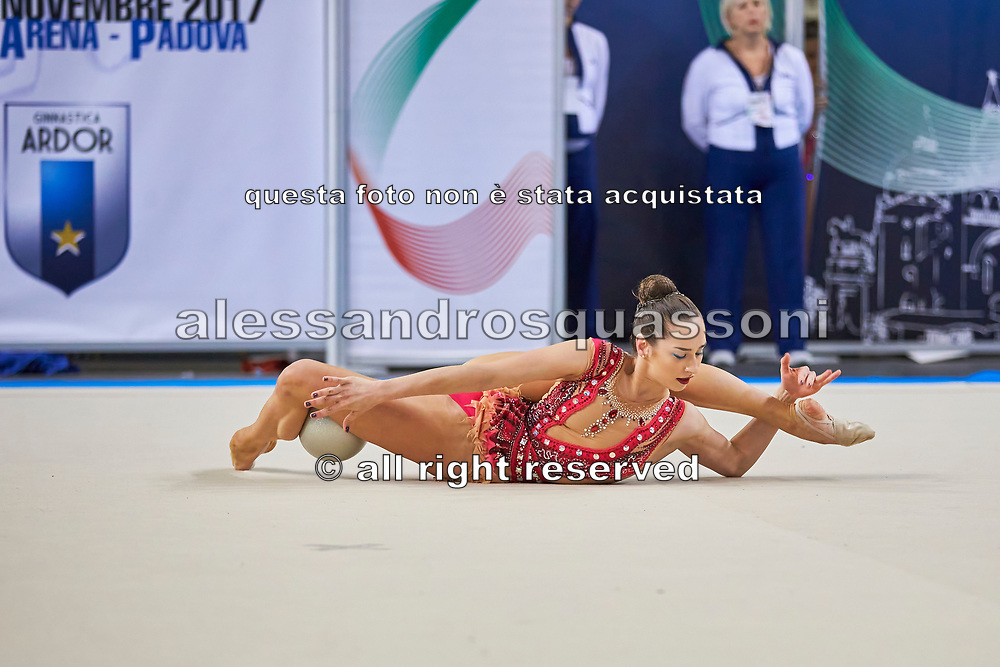 Katsiarina Halkina from Raffaello Motto team during the Italian Rhythmic Gymnastics Championship in Padova, 25 November 2017.