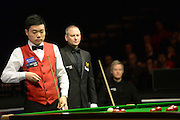 19.02.2016. Cardiff Arena, Cardiff, Wales. Bet Victor Welsh Open Snooker. Neil Robertson versus Ding Junhui. Ding Junhui looks at his options at the table.