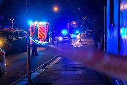 Police and the ambulance service respond to a serious assault on Harrow Road near Ladbroke Grove in North West London at around 3.30am. London, January 01 2019.