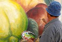 Italie. Sardaigne. Peintures murales dans le village de San Sperate. Angelo Pilloni, artiste peintre muraliste. //  Italy, Sardinia, Mural painting on the village of San Sperate. Angelo Pilloni, artist wall painter.
