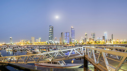 Skyline of Kuwait City from Marina at Souq Sharq in Kuwait.