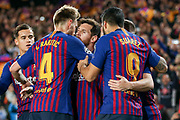 GOAL - 1-0 Barcelona forward Lionel Messi  (10) celebrates with Barcelona midfielder Ivan Rakitic (4) and Barcelona forward Luis Suarez (9) during the Champions League quarter-final leg 2 of 2 match between Barcelona and Manchester United at Camp Nou, Barcelona, Spain on 16 April 2019.