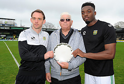 Yeovil Town's James Hayter and Yeovil Town's Gozie Ugwu pose with their award - Photo mandatory by-line: Harry Trump/JMP - Mobile: 07966 386802 - 25/04/15 - SPORT - FOOTBALL - Sky Bet League One - Yeovil Town v Port Vale - Huish Park, Yeovil, England.