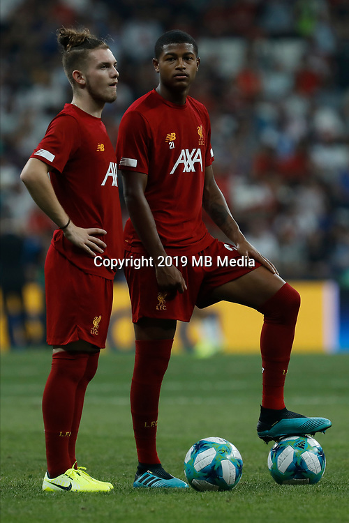 ISTANBUL, TURKEY - AUGUST 14: Harvey Elliott (L) and Rhian Brewster of Liverpool look on during the warm-up ahead of the UEFA Super Cup match between Liverpool and Chelsea at Besiktas Park on August 14, 2019 in Istanbul, Turkey. (Photo by MB Media/Getty Images)