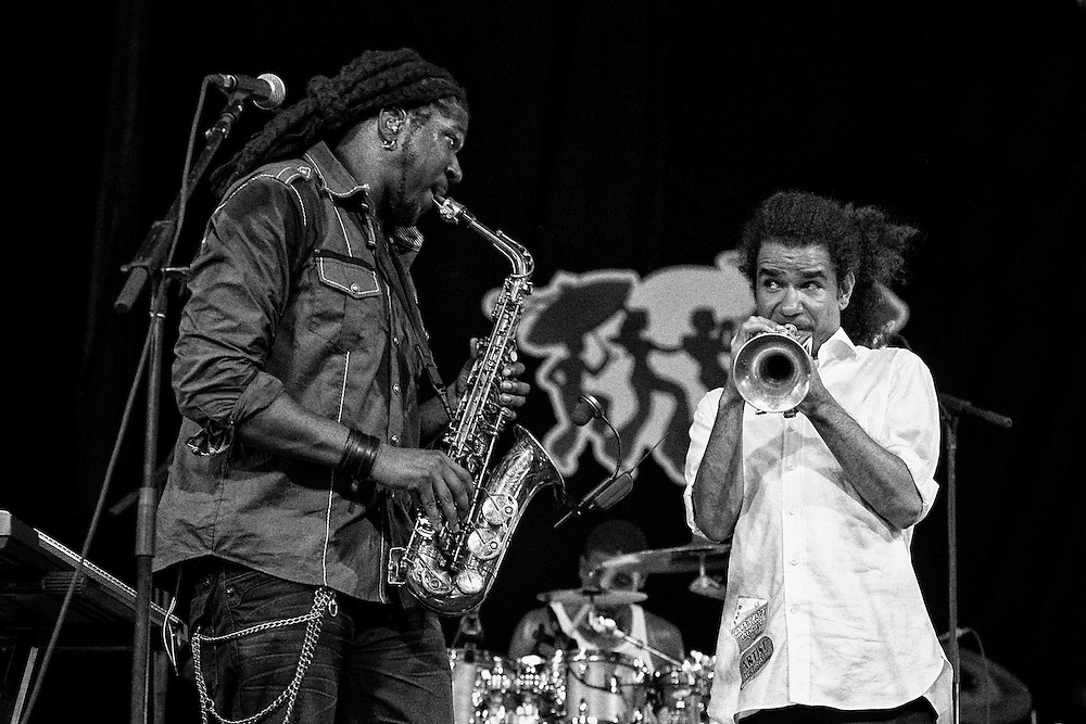 Khris Royal of Khris Royal and Dark Matter with trumpeter Ashlin Parker performing in the Jazz Tent at the 2011 New Orleans Jazz & Heritage Festival at the Fair Grounds Race Course in New Orleans, LA. USA.