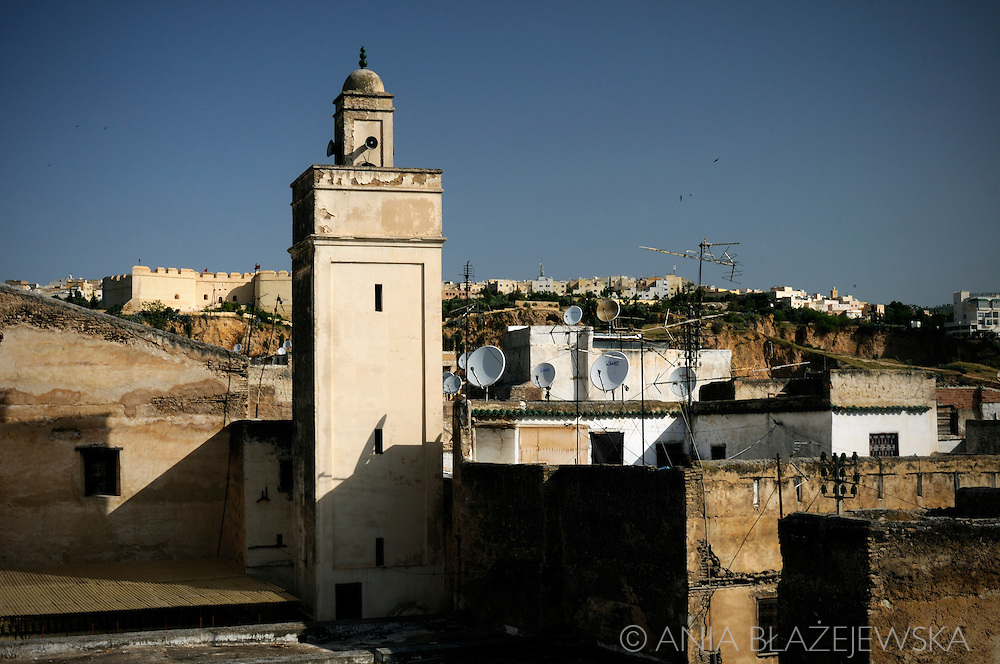 Morocco, Fez. Roofs of the medina and a minaret.
