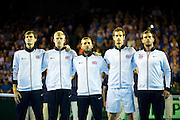 Great Britain line up for the national anthems ahead of the Davis Cup Semi Final between Great Britain and Argentina at the Emirates Arena, Glasgow, United Kingdom on 16 September 2016. Photo by Craig Doyle.