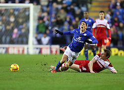 Middlesbrough's Dean Whitehead fouls Leicester City's Anthony Knockaert - Photo mandatory by-line: Matt Bunn/JMP - Tel: Mobile: 07966 386802 25/01/2014 - SPORT - FOOTBALL - King Power Stadium - Leicester - Leicester City v Middlesbrough - Sky Bet Championship
