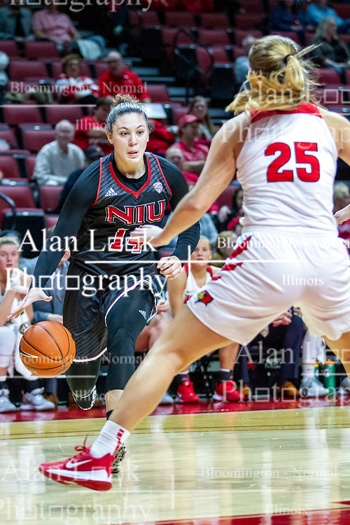 NORMAL, IL - November 20: Nikayla Brandon brings the ball along the baseline protected by Lexi Wallen during a college women's basketball game between the ISU Redbirds and the Huskies of Northern Illinois November 20 2019 at Redbird Arena in Normal, IL. (Photo by Alan Look)