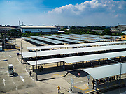06 DECEMBER 2018 - SAMUT PRAKAN, THAILAND:  The Park and Ride lot at the Kheha station on the BTS Skytrain extension. The 12.6 kilometer (7.8 miles) east extension of the Sukhumvit Line of the Bangkok BTS Skytrain goes into Samut Prakan, a town east of Bangkok.  The system is now 51 kilometers long (32 miles), including the 12.6 kilometer extension that opened December 06. About 900,000 people per day use the BTS.    PHOTO BY JACK KURTZ