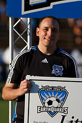 July 20, 2011; Santa Clara, CA, USA;  Competitive eating champion Joey Chestnut presents a check for charity before the game between the San Jose Earthquakes and the Vancouver Whitecaps at Buck Shaw Stadium. San Jose tied Vancouver 2-2.