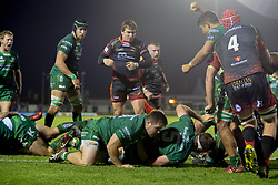 November 3, 2018 - Galway, Ireland - James Cannon (5) of Connacht scores a try during the Guinness PRO14 match between Connacht Rugby and Dragons at the Sportsground in Galway, Ireland on November 3, 2018  (Credit Image: © Andrew Surma/NurPhoto via ZUMA Press)