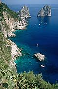 I Faraglioni rock stacks and cliffs on the south coast of the island of Capri, Campania, Italy