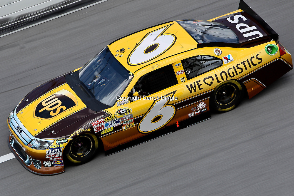 April 16, 2011; Talladega, AL, USA; NASCAR Sprint Cup Series driver David Ragan (6) during qualifying for the Aarons 499 at Talladega Superspeedway.   Mandatory Credit: Derick E. Hingle