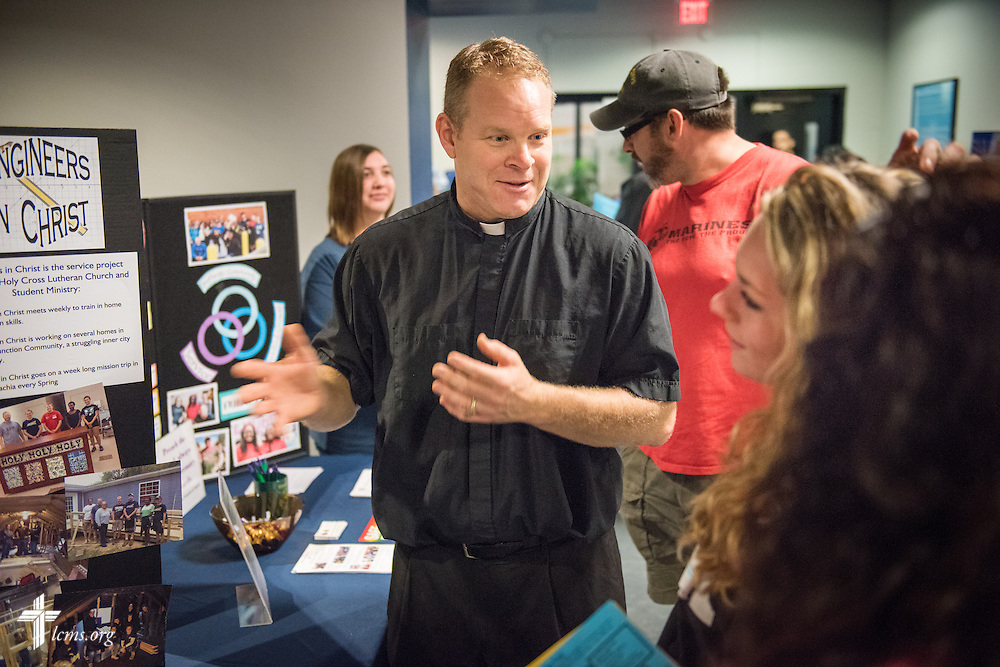 The Rev. Peter M. Burfeind, new domestic missionary and campus pastor at the University of Toledo, talks to new students at the university during an orientation on Thursday, July 9, 2015, in Toledo, Ohio. LCMS Communications/Erik M. Lunsford