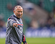Twickenham, United Kingdom.  England Head Coach, Eddie JONES oversees the pre game training    Old Mutual Wealth Series: England vs South Africa Match, RFU Stadium, Twickenham, England, Saturday, 12.11.2016<br /> <br /> [Mandatory Credit; Peter Spurrier/Intersport-images]