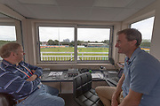 Radion commentators preparing for some action before the Specsavers County Champ Div 2 match between Leicestershire County Cricket Club and Gloucestershire County Cricket Club at the Fischer County Ground, Grace Road, Leicester, United Kingdom on 17 June 2019.