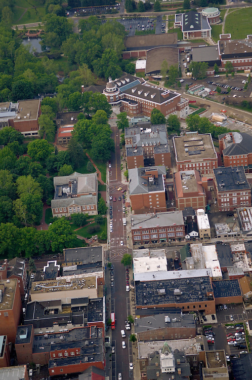 Aerial view of Court Street and Uptown Athens. © Ohio University