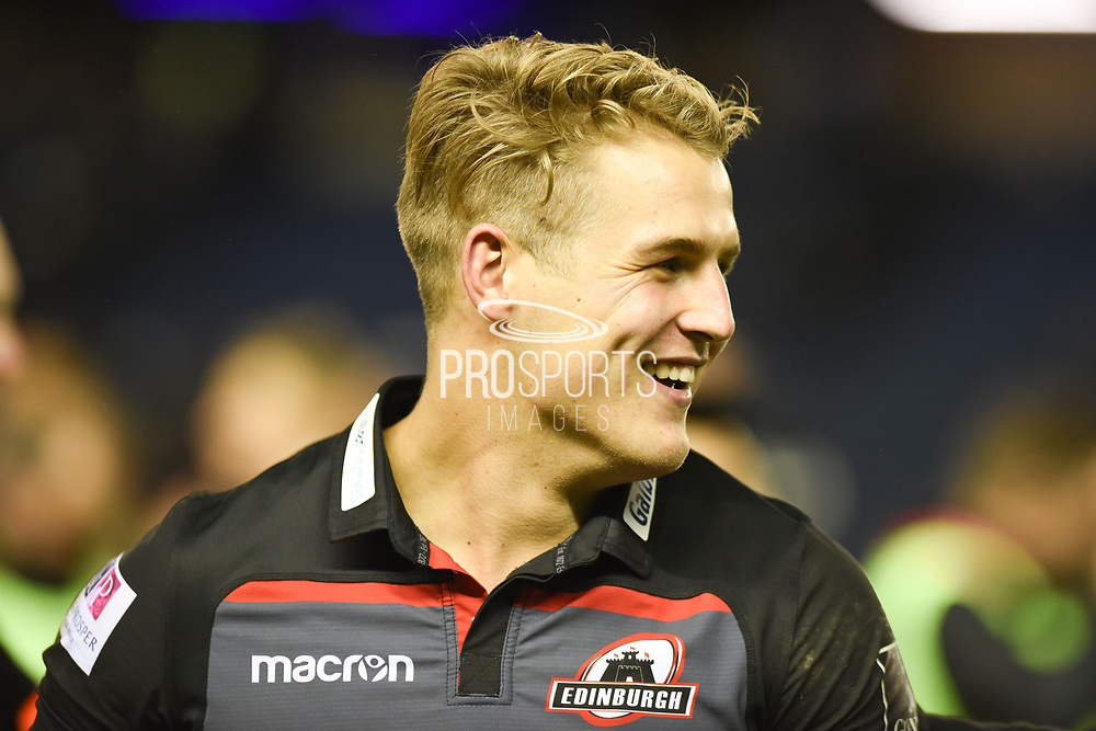 Duhan van der Merwe during the Guinness Pro 14 2017_18 match between Edinburgh Rugby and Glasgow Warriors at Murrayfield, Edinburgh, Scotland on 23 December 2017. Photo by Kevin Murray.
