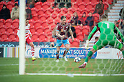 Scunthorpe United Midfielder Josh Morris (11) during the The FA Cup match between Doncaster Rovers and Scunthorpe United at the Keepmoat Stadium, Doncaster, England on 3 December 2017. Photo by Craig Zadoroznyj.