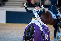Werth Isabell, GER, Weihegold OLD<br /> Göteborg - Gothenburg Horse Show 2019 <br /> FEI Dressage World Cup™ Final II<br /> Grand Prix Freestyle/Kür - Prix giving ceremony<br /> Longines FEI Jumping World Cup™ Final and FEI Dressage World Cup™ Final<br /> 06. April 2019<br /> © www.sportfotos-lafrentz.de/Stefan Lafrentz