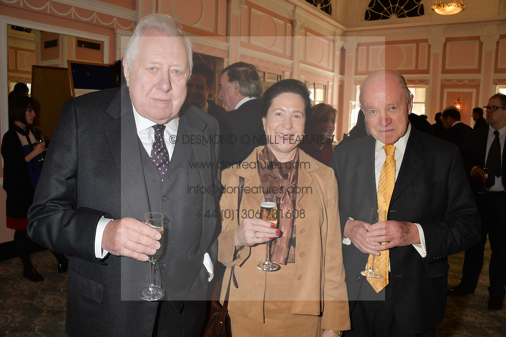 Left to right, LORD & LADY HATTERSLEY and EDWARD ENFIELD at the Oldie Magazine's Oldie of The Year Awards held at Simpson's In The Strand, London on 4th February 2014.