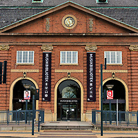 Old Train Station Now Music Library in Odense, Denmark <br /> This red brick building opened in 1914 as the second train station for the citizens of Odense. After it was replaced in 1995 by the Odense Banegård Center, it became the home of the Music Library.  It has an enormous collection including nearly 100,000 albums, 23,000 music books and over ten million files available for research. The Musikbibliotek is part of the Odense Central Library.