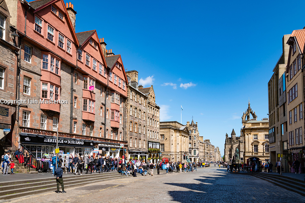 View of the Royal Mile at Lawnmarket in Edinburgh Old Town, Scotland, UK