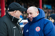 Grimsby Town Manager Russell Slade welcomes Accrington Stanley Manager John Coleman before kick off during the EFL Sky Bet League 2 match between Grimsby Town FC and Accrington Stanley at Blundell Park, Grimsby, United Kingdom on 30 December 2017. Photo by Craig Zadoroznyj.